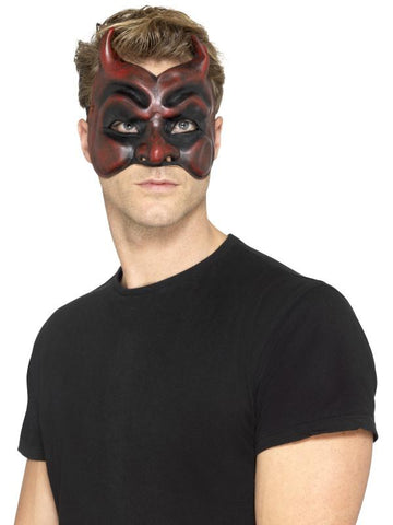 Men's Masquerade Devil Mask, Latex Red
