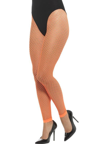 Women's Footless Net Tights Neon orang
