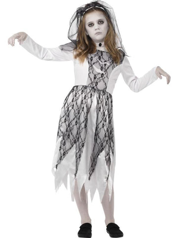 Girl's Ghostly Bride Fancy Dress Costume Grey
