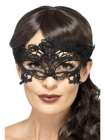 Women's Embroidered Lace Filigree Heart Eyemask Black