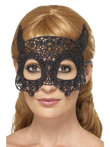 Women's Embroidered Lace Filigree Devil Eyemask Black