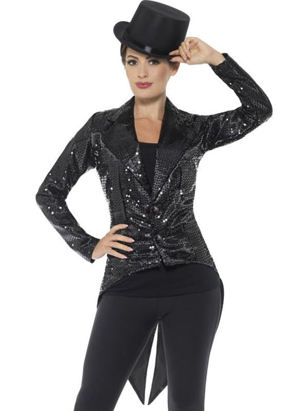 Women's Sequin Tailcoat Jacket, Ladies Black