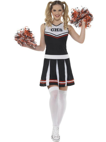 Women's Cheerleader Fancy Dress Costume Black