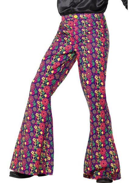 Men's 60s Psychedelic CND Flared Trousers, Mens Multi