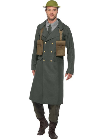 Men's WW2 British Office Fancy Dress Costume, with Trench Coat Green