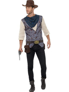 Rugged Cowboy Fancy Dress Costume Brown