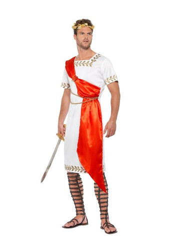 Men's Roman Senator Fancy Dress Costume White&red