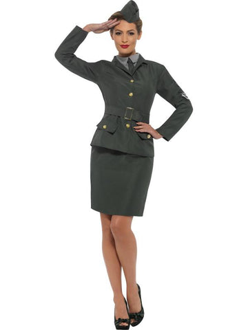 Women's WW2 Army Girl Fancy Dress Costume Green