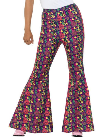 Women's 60s Psychedelic CND Flared Trousers, Ladies Multi