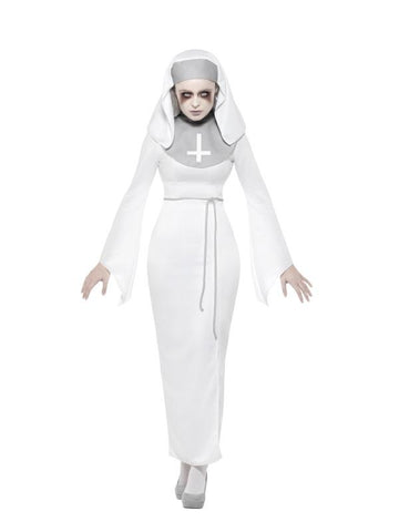 Women's Haunted Asylum Nun Fancy Dress Costume White