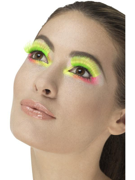 Women's 80s Party Eyelashes Neon green