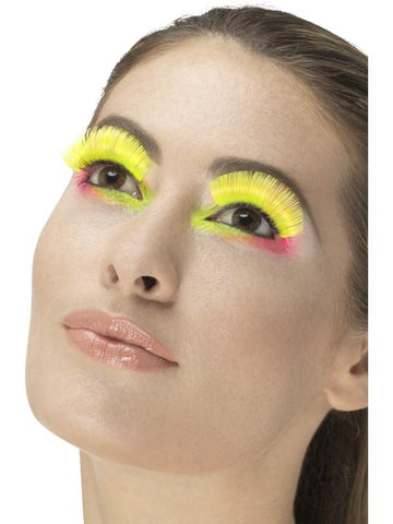 Women's 80s Party Eyelashes Neon yello