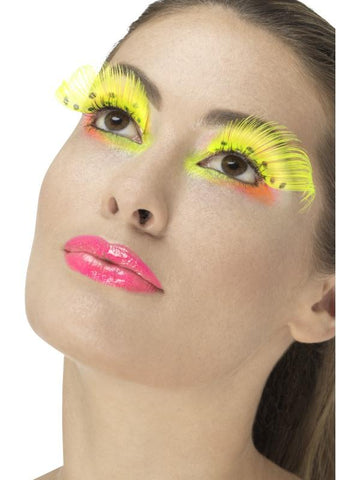Women's 80s Polka Dot Eyelashes Neon yello