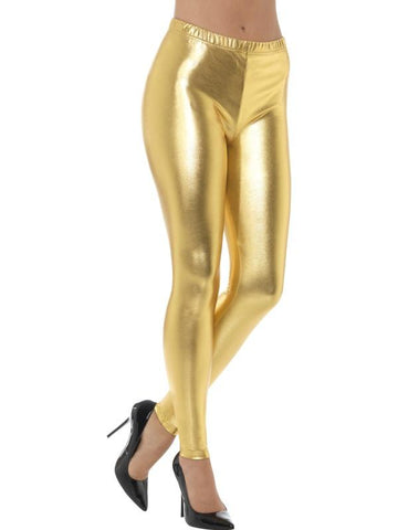Women's 80s Metallic Disco Leggings Gold