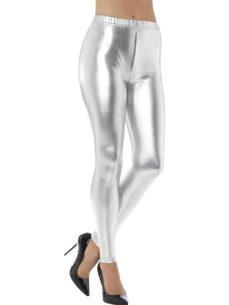 Women's 80s Metallic Disco Leggings Silver