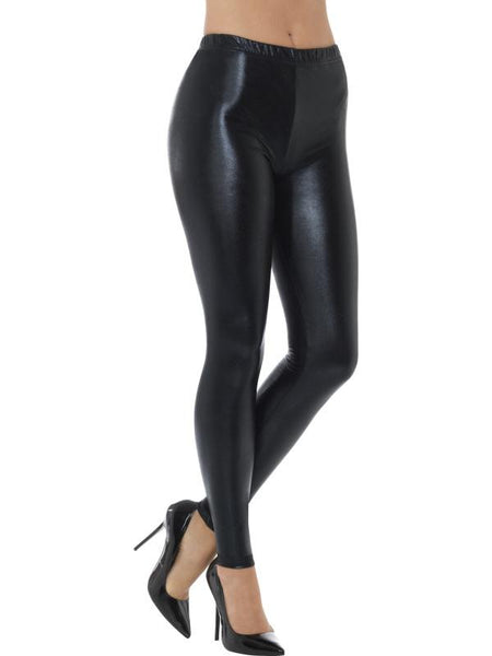 Women's 80s Metallic Disco Leggings Black