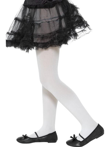 Girl's Opaque Tights, Childs White