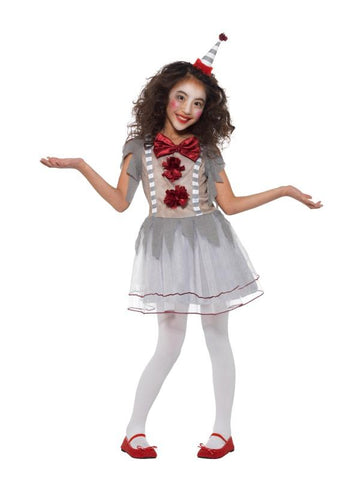 Girl's Vintage Clown Girl Fancy Dress Costume Grey & red