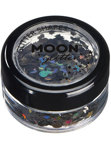 Moon Glitter Holographic Glitter Shapes, Black