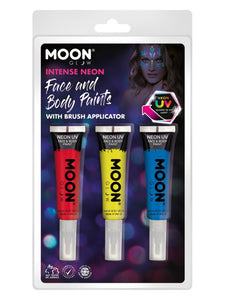 Moon Glow Intense Neon UV Face Paint and Brush,