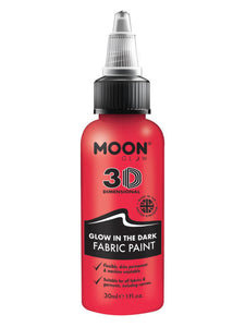 Moon Glow - Glow in the Dark Fabric Paint, Red