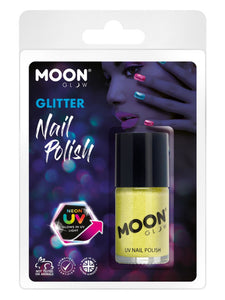 Moon Glow - Neon UV Glitter Nail Polish, Yellow