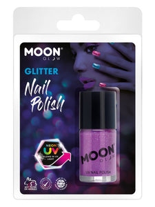 Moon Glow - Neon UV Glitter Nail Polish, Purple