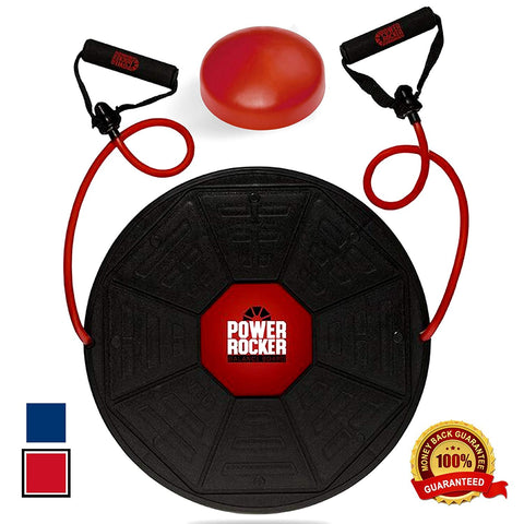 Epitomie Fitness Power Rocker Balance Board - Premium Wobble Board - Adjustable Height - Bonus Resistance Tube Set - Complete Stability & Core Training - Physical Therapy and Injury Rehabilitation - epitomiefitness