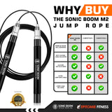 Sonic Boom M2 High Speed Jump Rope - Patent Pending Self-Locking, Screw-Free Design – Weighted, 360 Degree Spin, Silicone Grip with 2 Speed Rope Cables for Home Workout and More