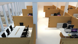 dynamic office - modular wall- modular solutions- cork- natural-corkbrick