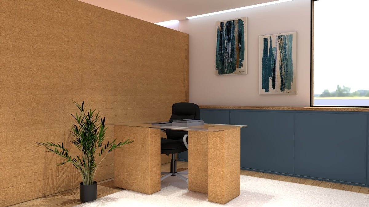 corkbrick - modular office - sustainable solutions - modular table - natural table- sustainable furniture- diy furniture