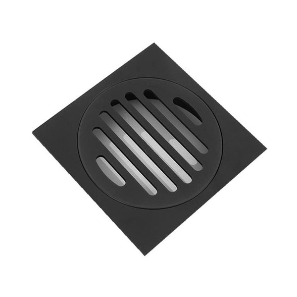 Odda - Matt Black Square Black Brass Floor Waste Drain Shower Grate 110*110mm - Luksus Australia - Black Tapware, Gold Tapware, Chrome Tapware, Black Fittings and Fixtures, Black Sinks