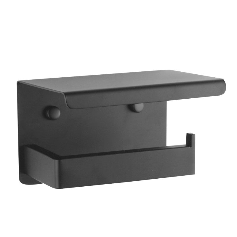 Odda - Matt Black Toilet Paper Rail + Shelf - Luksus Australia - Black Tapware, Gold Tapware, Chrome Tapware, Black Fittings and Fixtures, Black Sinks