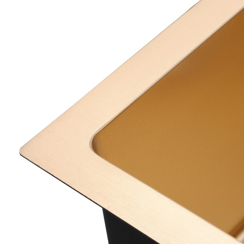 Brushed Yellow Gold Round Corner Stainless Steel Single Bowl Top/Flush/Undermount Kitchen/Laundry Sink 440x440x205mm 1.2mm - Luksus Australia - Black Tapware, Gold Tapware, Chrome Tapware, Black Fittings and Fixtures, Black Sinks