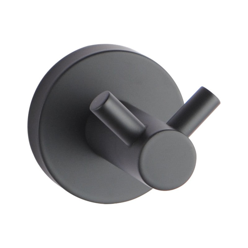 Asker - Matt Black Round Pin Lever Stainless Steel Wall Mounted Double Robe Hook