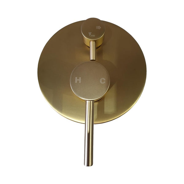 Tron Brushed Yellow Gold Round Shower/Bath Mixer with Diverter Wall Mounted - Luksus Australia - Black Tapware, Gold Tapware, Chrome Tapware, Black Fittings and Fixtures, Black Sinks