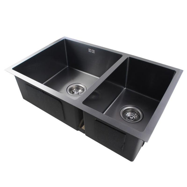 Asker- Black Stainless Steel Double Bowl Top/Undermount Kitchen Sink 710x450x205mm - Luksus Australia - Black Tapware, Gold Tapware, Chrome Tapware, Black Fittings and Fixtures, Black Sinks