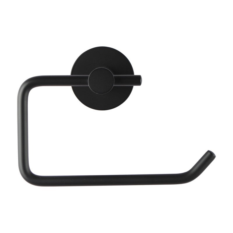Asker - Round Matt Black Wall Mounted Toilet Paper Roll Holder - Luksus Australia - Black Tapware, Gold Tapware, Chrome Tapware, Black Fittings and Fixtures, Black Sinks