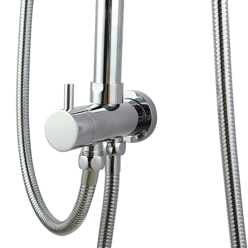 Asker - Round Chrome Twin Shower Station Top/Bottom Water Inlet with 5 Functions Handheld Shower [200mm Head]