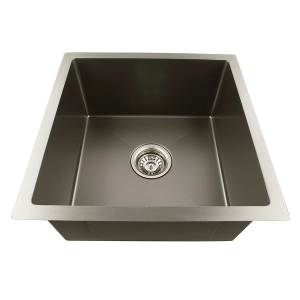 Asker - Black Stainless Steel Single Bowl Top/Undermount Kitchen/Laundry Sink - Luksus Australia - Black Tapware, Gold Tapware, Chrome Tapware, Black Fittings and Fixtures, Black Sinks