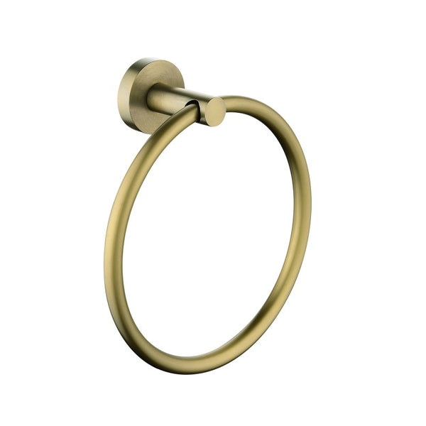 Tron Brushed Yellow Gold Round Hand Towel Ring Wall Mounted - Luksus Australia - Black Tapware, Gold Tapware, Chrome Tapware, Black Fittings and Fixtures, Black Sinks