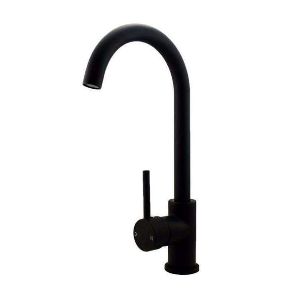 Asker - Matt Black Round Kitchen Mixer Tap - Luksus Australia - Black Tapware, Gold Tapware, Chrome Tapware, Black Fittings and Fixtures, Black Sinks