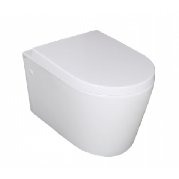 White Wall Hung Toilet Pan With Framed In-wall Cistern and Push Button Flush [Matt Black, Chrome, White] - Luksus Australia - Black Tapware, Gold Tapware, Chrome Tapware, Black Fittings and Fixtures, Black Sinks