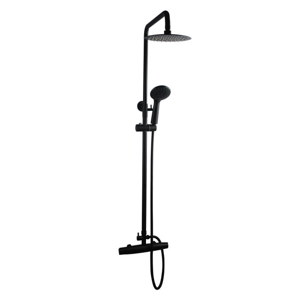 Asker- Round Matt Black Shower Station + Bottom Water Inlet and Mixer Taps [8 inch] - Luksus Australia - Black Tapware, Gold Tapware, Chrome Tapware, Black Fittings and Fixtures, Black Sinks