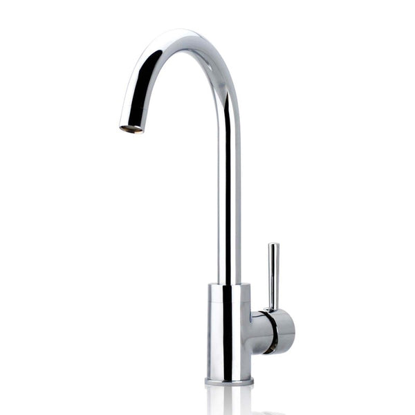 Asker - Chrome Round Kitchen Mixer Tap - Luksus Australia - Black Tapware, Gold Tapware, Chrome Tapware, Black Fittings and Fixtures, Black Sinks