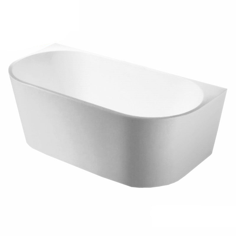 Matt White 1500x750x580mm Back to Wall Free Standing Acrylic Bathtub - NO OVERFLOW - Luksus Australia - Black Tapware, Gold Tapware, Chrome Tapware, Black Fittings and Fixtures, Black Sinks
