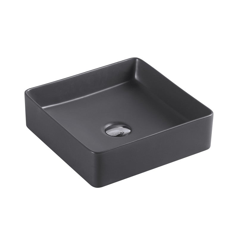 Sola - Square Matt Black Above Counter Top Ceramic Basin [360x360x110mm] - Luksus Australia - Black Tapware, Gold Tapware, Chrome Tapware, Black Fittings and Fixtures, Black Sinks