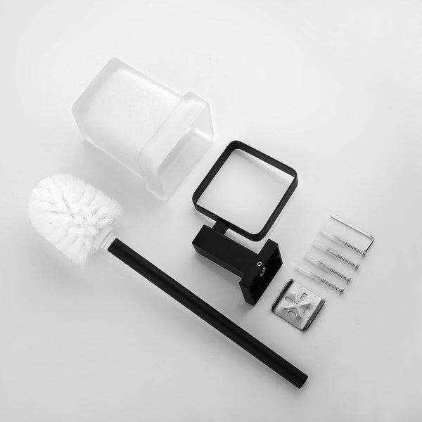 Odda - Matt Black Toilet Brush + Holder - Luksus Australia - Black Tapware, Gold Tapware, Chrome Tapware, Black Fittings and Fixtures, Black Sinks