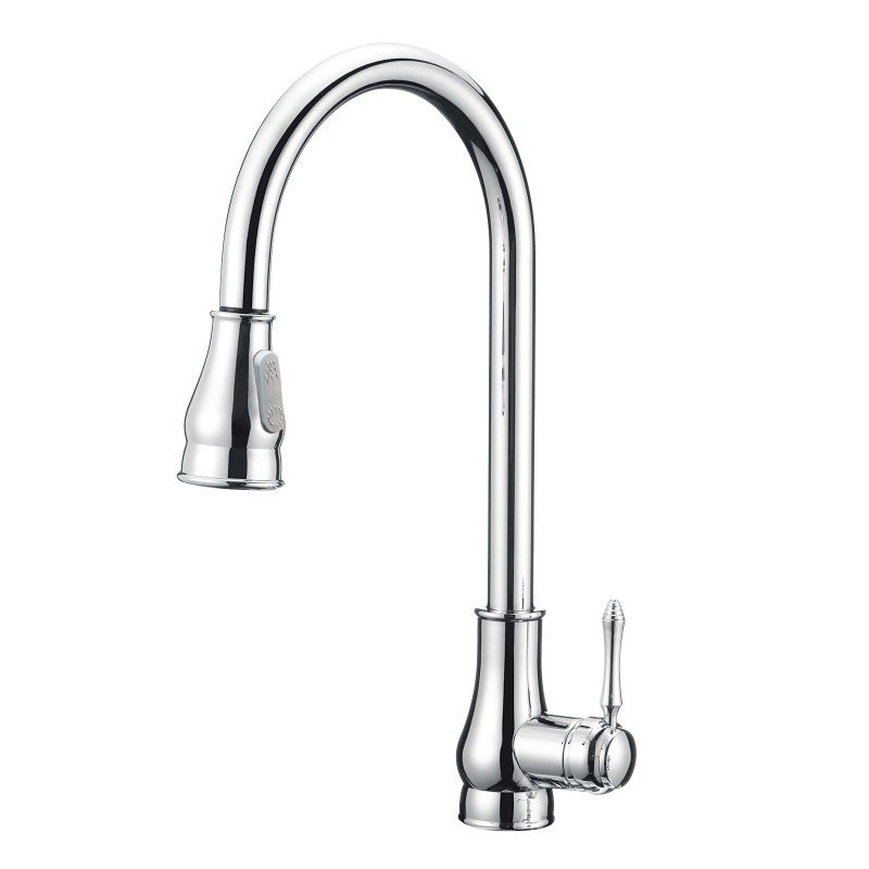 Asker - Round Chrome Vintage Pull Out Kitchen Sink Mixer Tap