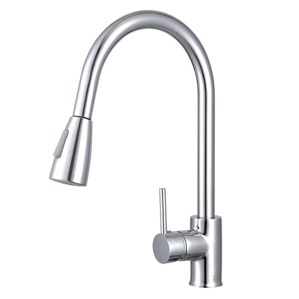 Asker - Chrome Round Pull Out Kitchen Mixer Tap